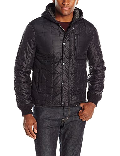 John Varvatos Men's Quilted Hooded Jacket, Black, Medium
