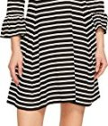 Kate Spade New York Women's Stripe Ponte Fit and Flare Dress Black/Off-White Large