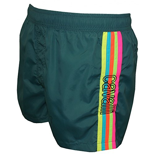 Just Cavalli Rainbow Side Stripe Men's Swim Shorts, Teal Blue X-Large Teal Blue