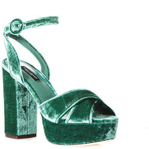 Dolce & Gabbana Women's Green Velvet Sandals With Platform Shoes - Size: 37.5 EU