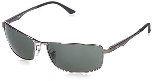 Ray-Ban Rectangular Sunglasses,Gunmetal Frame/Green Lens,61 mm
