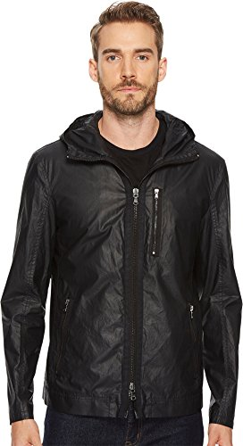 John Varvatos Men's Zip Front Short Parka, Black, Medium