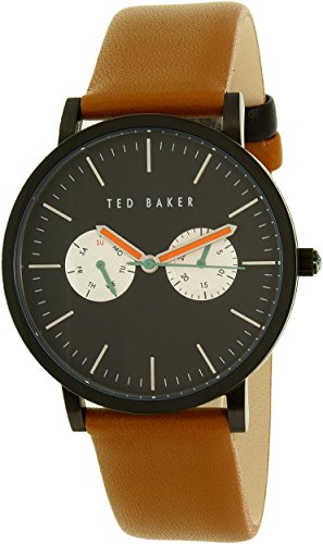 Ted Baker Men's Black Stainless Steel Watch with Brown Leather Band