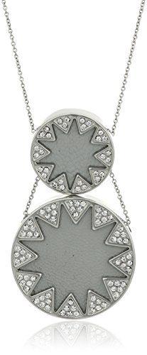 House of Harlow Double Sunburst Silver/Grey Pendant Necklace