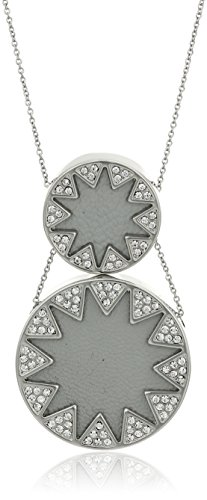 House of Harlow Double Sunburst Silver/Grey Pendant Necklace