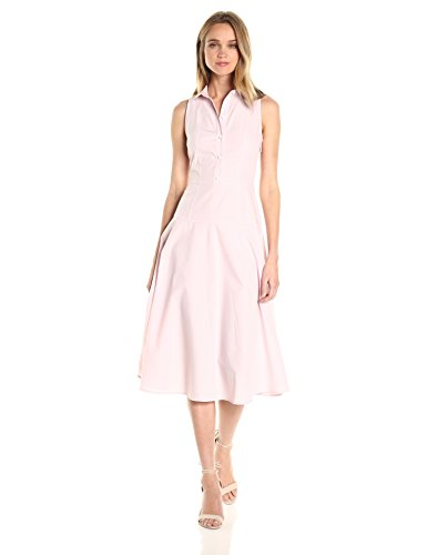 A|X Armani Exchange Women's Collared Button up Sleeveless Midi Dress, Pink, 8