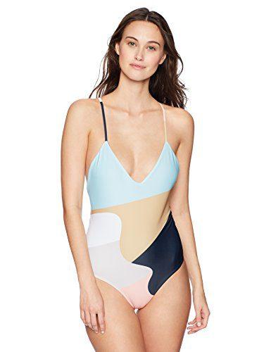 Mara Hoffman Women's Emma Cross Back One Piece Swimsuit, Neapolitan Peach/Multi, Small