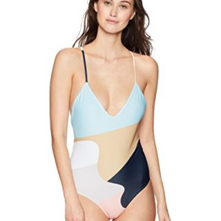 Mara Hoffman Women's Emma Cross Back One Piece Swimsuit, Neapolitan Peach/Multi, Small