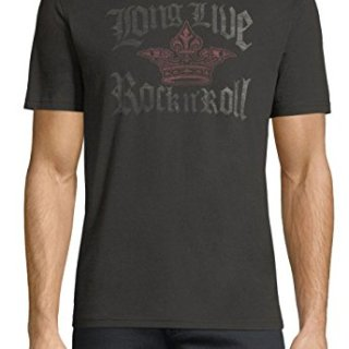 John Varvatos Men's Long Live Rock n' Roll Crown Crew T-Shirt Medium Black