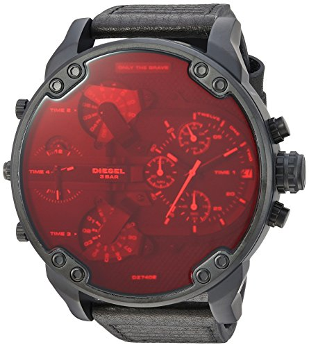 Diesel Men's 'Mr Daddy 2.0' Quartz Stainless Steel and Leather Casual Watch, Color:Black (Model: DZ7402)