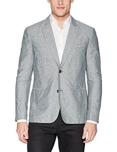 John Varvatos Star USA Men's 2 Button Shirting with Peak Lapel Soft Jacket, Granite, 40