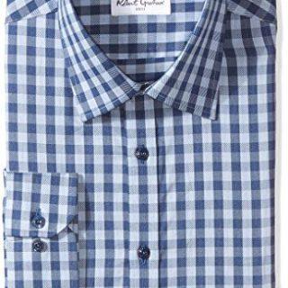 """Robert Graham Men's Kade Regular Fit Check Dress Shirt, Blue, 18"""" Neck 36.5"""" Sleeve"""