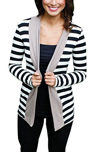 Relipop Women's Fashion Open Front Cardigan Long Sleeve Sweater Jacket (Medium, Gray)