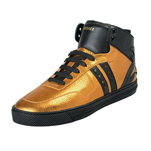 Versace Men's Gold Leather Hi Top Fashion Sneakers Shoes Sz US 9 IT 42