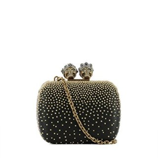 Alexander Mcqueen Women's Black/Gold Leather Clutch