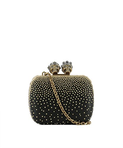 Alexander Mcqueen Women's Black/Gold Leather Clutch