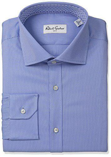 """Robert Graham Men's Classic Fit Textured Solid Dress Shirt, Blue, 15.5"""" Neck 35"""" Sleeve"""