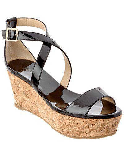 JIMMY CHOO Portia 70 Patent Cork Wedge Sandal, 37