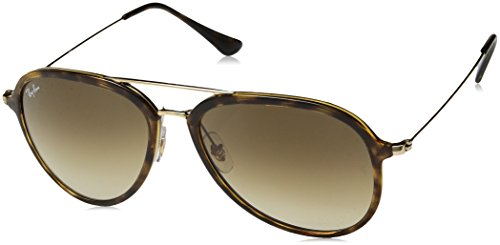 Ray-Ban Plastic Unisex Aviator Sunglasses, Light Havana, 57 mm