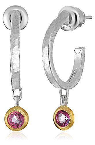 GURHAN Skittle Sterling Silver Pink Topaz Hoop Earrings