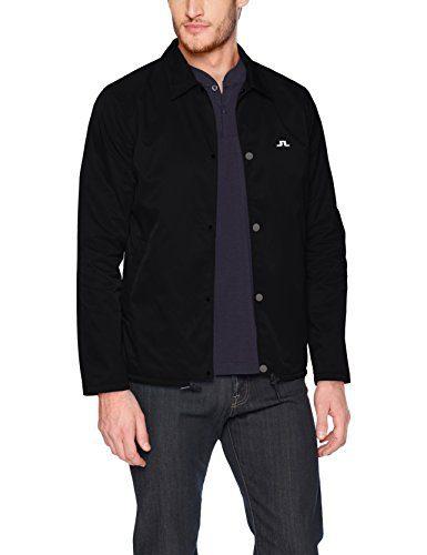 J.Lindeberg Men's Logo Coach Jacket, Black, X-Large