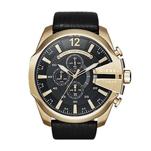 Diesel Men's Mega Chief Quartz Stainless Steel and Leather Chronograph Watch, Color Gold-Tone, Black