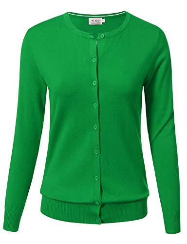ARC Studio Women Button Down Long Sleeve Crewneck Soft Knit Cardigan Sweater XL AppleGreen