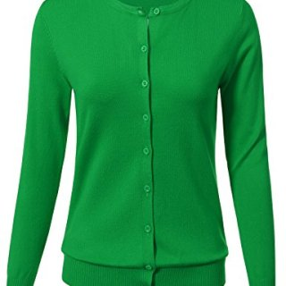 ARC Studio Women Button Down Long Sleeve Crewneck Soft Knit Cardigan Sweater XL AppleGreen