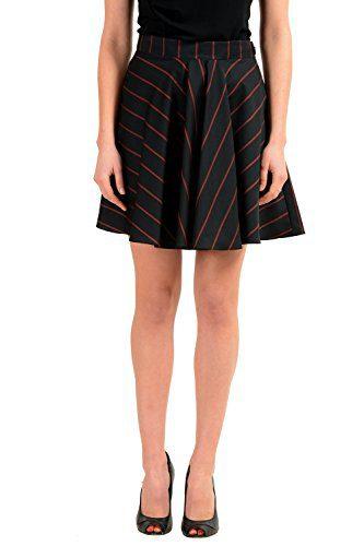 Versace Versus 100% Wool Black Striped Asymmetrical Women's Skirt US XS IT 38