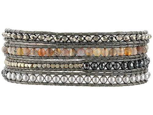 Chan Luu Grey Mix Sectioned Wrap Bracelet on Grey Leather
