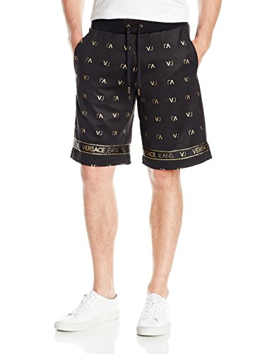 Versace Jeans Men's Felpa Vj Logo Short, Nero, Large