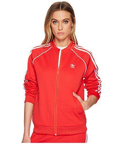 adidas Originals Women's Superstar Tracktop, Radiant Red, L