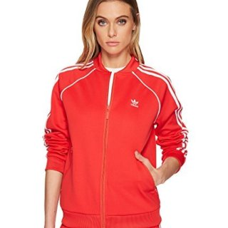 adidas Originals Women's Superstar Tracktop, Radiant Red, L