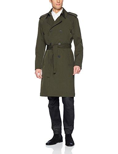 J.Lindeberg Men's Tech Wool Trench Coat, Major Brown, Medium