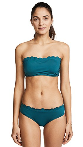 Kate Spade New York Women's Scalloped Bandeau Bikini Top, Foliage, Large