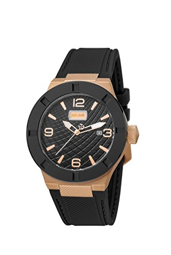 Just Cavalli Men's Rock Luminous Black Silicone Date Wristwatch
