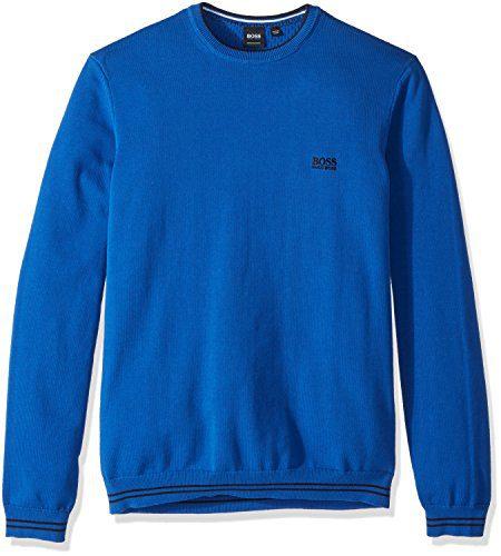 BOSS Green Men's Rime Crewneck Sweatshirt, True Blue, Small