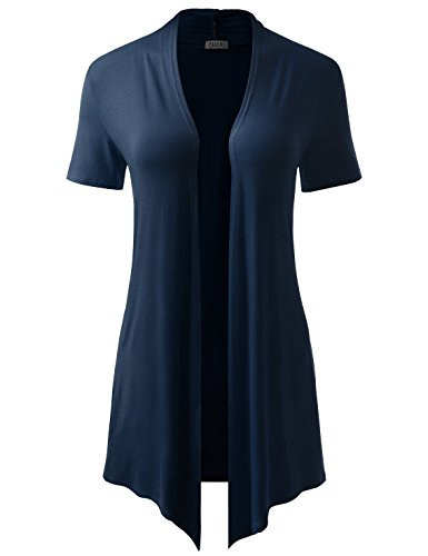 BIADANI Women Short Sleeve Open Front Drape Cardigan with Side Pockets Navy Large