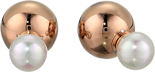 Majorica Women's 8mm Round Pearl and 12mm Double Stud Rose Plated Ball Earrings White One Size