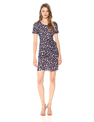A|X Armani Exchange Women's Sheer Printed Short Sleeve Dress, Pink Mushroom Flower, 12