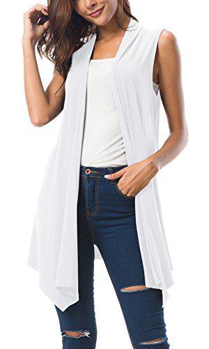 Urban CoCo Women's Sleeveless Draped Open Front Cardigan Vest Asymmetric Hem (L, White)