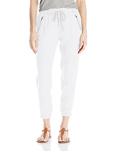 Michael Stars Women's Linen Pant with Zipper Pockets, White, M