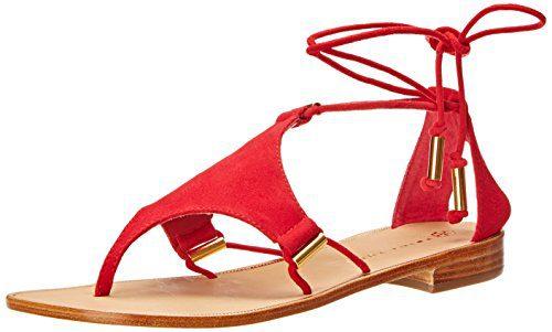 Trina Turk Women's Bayley Dress Sandal, Poppy Suede/Gold Tubes, 5.5 M US