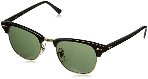 Ray-Ban CLUBMASTER - EBONY/ARISTA Frame CRYSTAL GREEN Lenses 49mm Non-Polarized