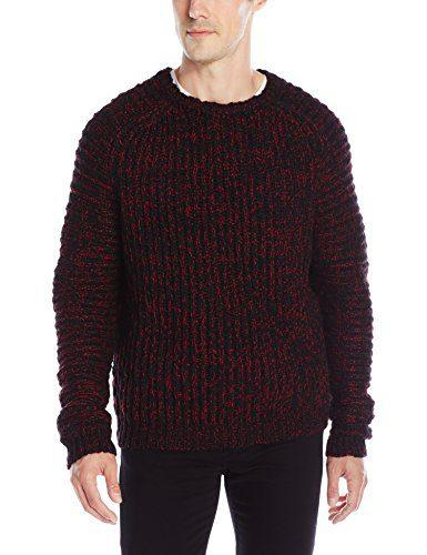 Just Cavalli Men's Marled Wool Sweater, Black/True Red, XX-Large