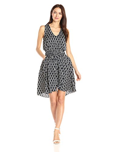 A|X Armani Exchange Women's V Neck Sleevless Elastic Waist Band Fit and Flare Dress, Navy, 8