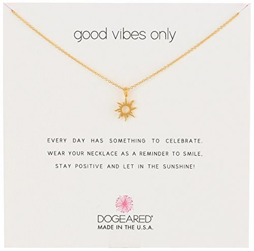 """Dogeared Reminders- Good Vibes Only Gold Dipped Sun Charm Necklace, 16"""" w/2"""" Extender"""