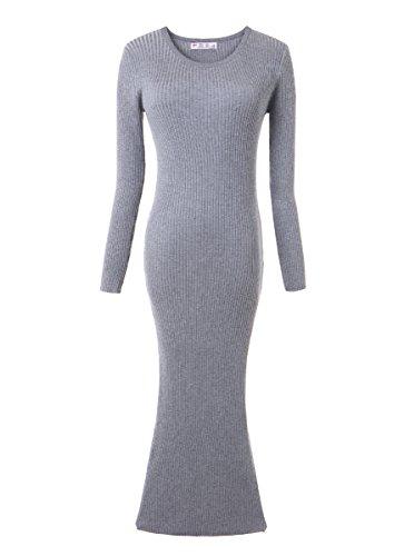 OLRAIN Womens Slim Fitted Crewneck Knit Sweater Dress Grey Medium