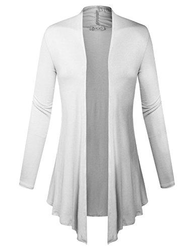 BIADANI Women Open Front Lightweight Cardigan with Side Pockets White Medium