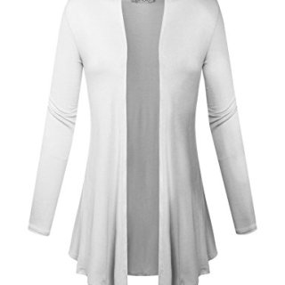 BIADANI Women Open Front Lightweight Cardigan with Side Pockets White Medium